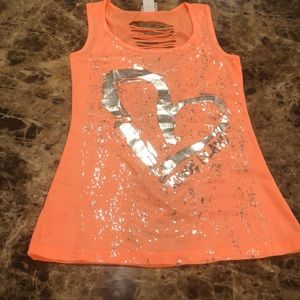 Neon orange tank with open slits in back